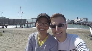 cute couple take a selfie with a gopro 4k stock video