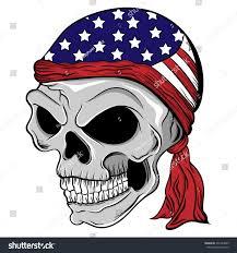 Black American Flag Bandana Vector Illustration Skull Wearing Patriotic Headband Stock Vector