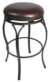 Backless Counter Stool Leather Black Polished Iron Frame Barstool With Rounded Brown Leather
