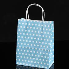 blue gift bags blue white polka dot paper gift bags 5 9 inch x 3 3 inch x 8 3