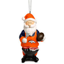 denver broncos two tier snowman bell ornament