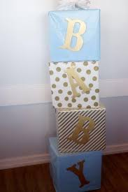 Blue And Gold Baby Shower Decorations by Baby Blocks Made Out Of Diapers Wrapped In Brown Paper Ideas