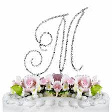 m cake topper swarovski wedding cake topper silver letter m