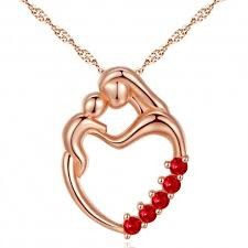 sterling silver rose necklace images Pws044cr sterling silver rose gold plated mother child heart jpg