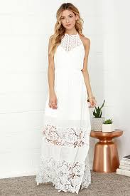 ivory dress maxi dress lace dress halter dress white dress