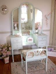 simple white antique vanity table design with reclining stool and