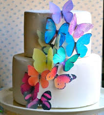butterfly cake toppers edible butterflies large rainbow variety set of 12