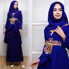 Baju Levis Biru model baju gamis pesta 2018 terbaru karla biru elektrik fg