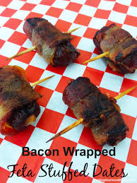 bacon wrapped feta stuffed dates are an easy appetizer for a