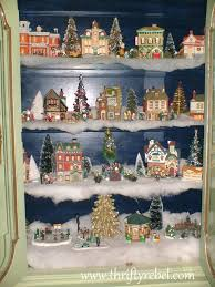 christmas villages our christmas display cabinet thrifty rebel vintage