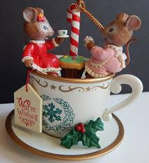 christmas mice ornament warm wishes tea cup san francisco music