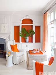 lovely living room with orange accents 54 on interior decor design