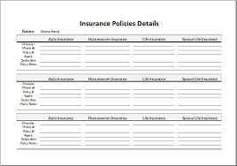 insurance policies record sheet for excel word u0026 excel templates