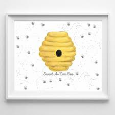 Bumble Bee Nursery Decor Baby Shower Fingerprint Guestbook Bumble Bee Baby Baby