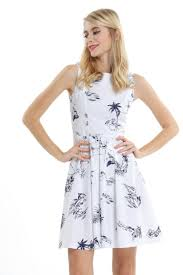 Flamingo Map Vintage Fit And Flare Dress