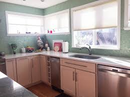 transparent sea green glass tile kitchen backsplash