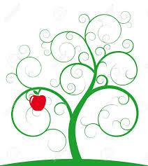 illustration of green spiral tree with apple royalty free