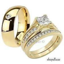 wedding engagement rings his hers 3 men s women s 14k gold plated wedding engagement
