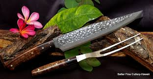 custom order carving sets individual carving knives salter fine carving knife and fork handcrafted japanese hammered finish with decorative handles salter fine cutlery