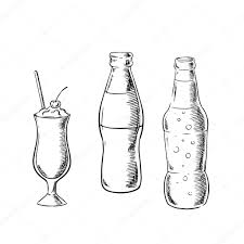 cocktail sketch beer sweet soda and cocktail sketches u2014 stock vector seamartini