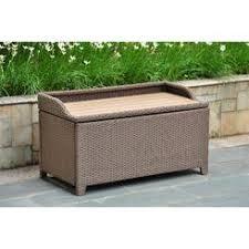 outdoor resin wicker storage bench