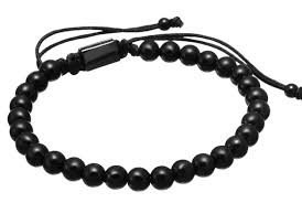 black man bracelet images Mens black gunmetal plated titanium bracelet man bead jewels jpg