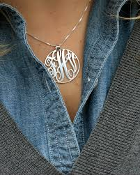 monogram necklace sterling silver sterling silver 1 18 inch circle monogram necklace personalized