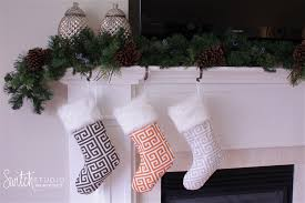 cool christmas stocking grey u0026 white greek key switch studio