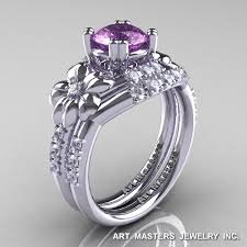 amethyst engagement ring sets nature inspired 14k white gold 1 0 ct lilac amethyst leaf