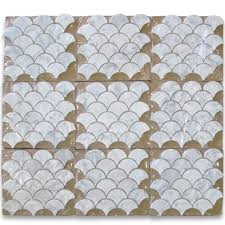 carrara white grand fish scale fan shaped mosaic tile honed