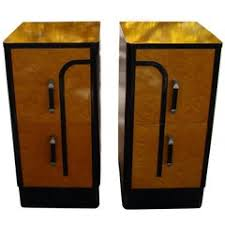 pair of art deco rosewood and leather nightstands for sale at 1stdibs