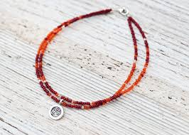 orange bead necklace images Prasada jewelry silver om anklet w red and orange beads jpg