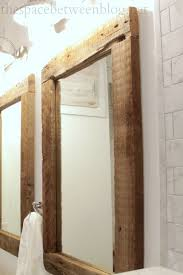 wood framed framed bathroom mirrors