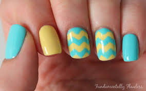 yellow and turquoise chevron nails pictures photos and images