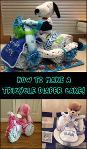 this tricycle diaper cake is a clever and adorable baby shower