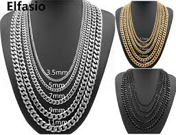 silver gold chain necklace images Customized 3 5 5 7 9 11mm wide mens boys chain necklace curb cuban jpg