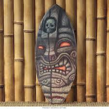 hawaiian skull tiki shark god mini surfboard d tiki lounge
