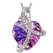 purple necklace pendant images Sivery love heart fashion pendant necklace made with purple jpg