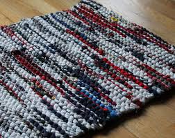 Red White And Blue Rugs Americana Rag Rug Upcycled T Shirts Nautical Red Navy Blue