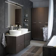 ikea bathroom ideas pictures a medium size grey bathroom with high and low wall cabinets in black