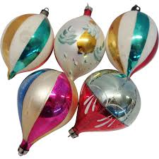 5 large poland teardrop glass ornaments from