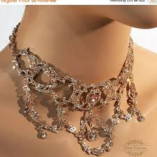 vintage crystal choker necklace images Bridal jewelry set bridal choker bib from linq la love vintage jpg