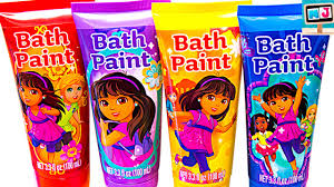 learn colors with kids bath paint dora the explorer peppa pig