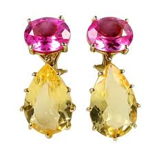 gold earing multi prong drop gold earring with pink topaz and citrine for sale