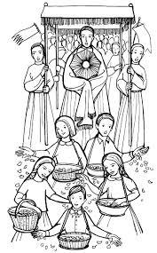 corpus christi procession catholic coloring catholic
