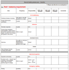 Maintenance Checklist Template Excel Maintenance Checklist Template Building Maintenance Checklist Pdf