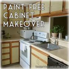 Use Contact Paper To Refinish Cabinets Temporarily While Renting - Kitchen cabinet makeover diy