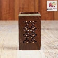 rusticity wooden pen pencil holder for desk handmade rusticity