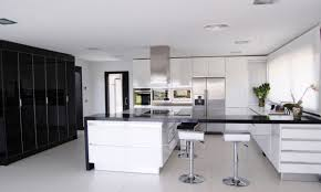 Black And White Contemporary Kitchen - black and white kitchen decor christmas lights decoration