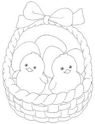 easter colouring cute easter basket colour